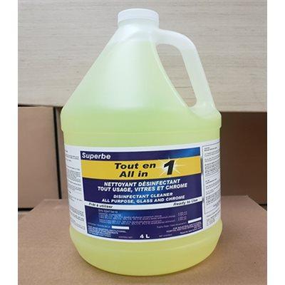 SUPERBE MULTI-SURFACE MULTIPURPOSE SANITIZER CLEANER, GLASS AND CHROME, LEMON SCENT, 4 L