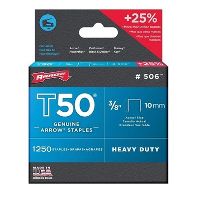 "ARROW 50624SP – AGRAFES T50 POUR AGRAFEUSE & PISTOLETS-AGRAFEURS À PERCUSSION ARROW & AURORA, 10 MM / 3/8"",  BOÎTE DE 1250"