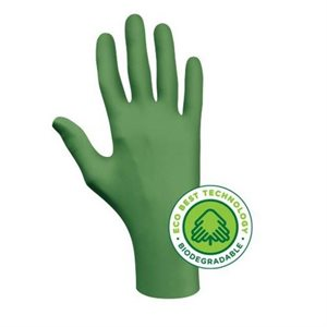 "SHOWA 6110PFL - POWDER FREE BIODEGRADABLE NITRILE DISPOSABLE GLOVE, 4 MIL, 9.5"" (240 MM), BOX/100, LARGE"