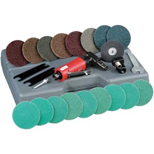 DYNABRADE 18015 - .2 HP (149 W) AUTOBRADE RED RIGHT ANGLE DIE GRINDER/DISC SANDER KIT